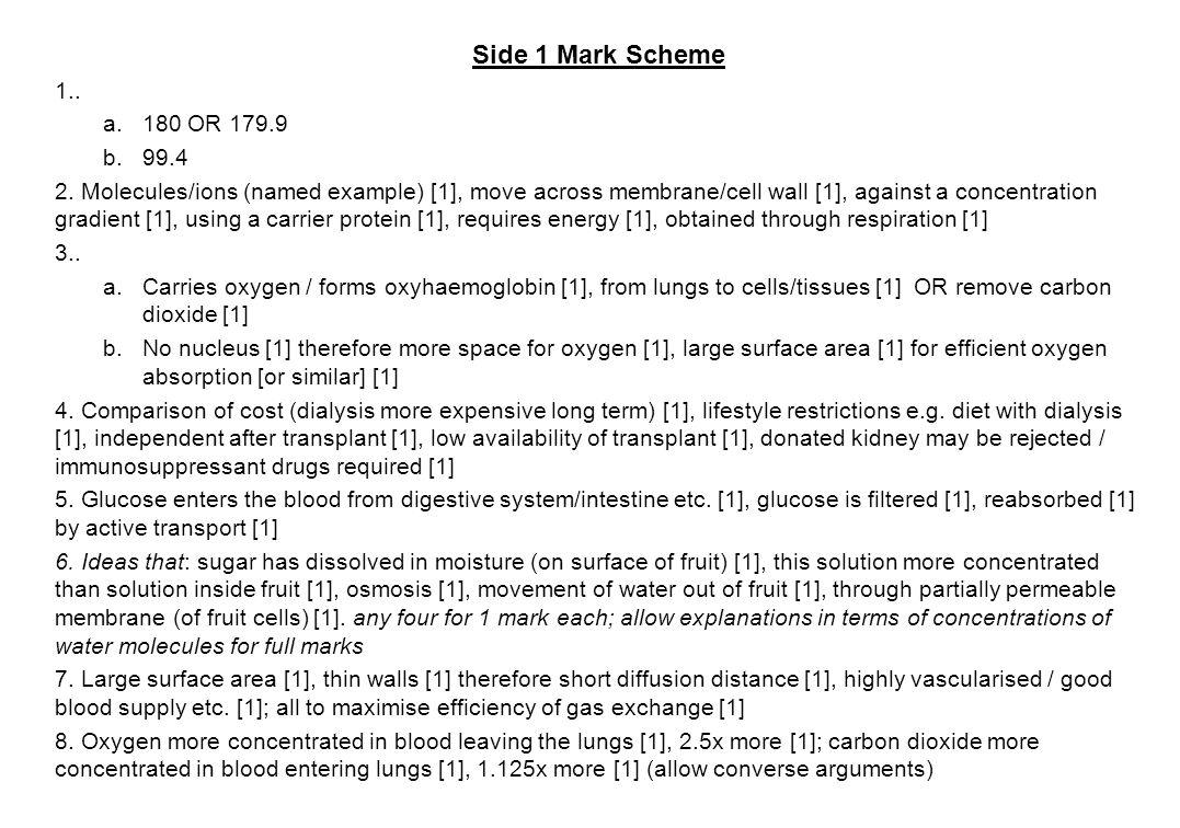 Side 1 Mark Scheme . 180 OR 179.9. 99.4.