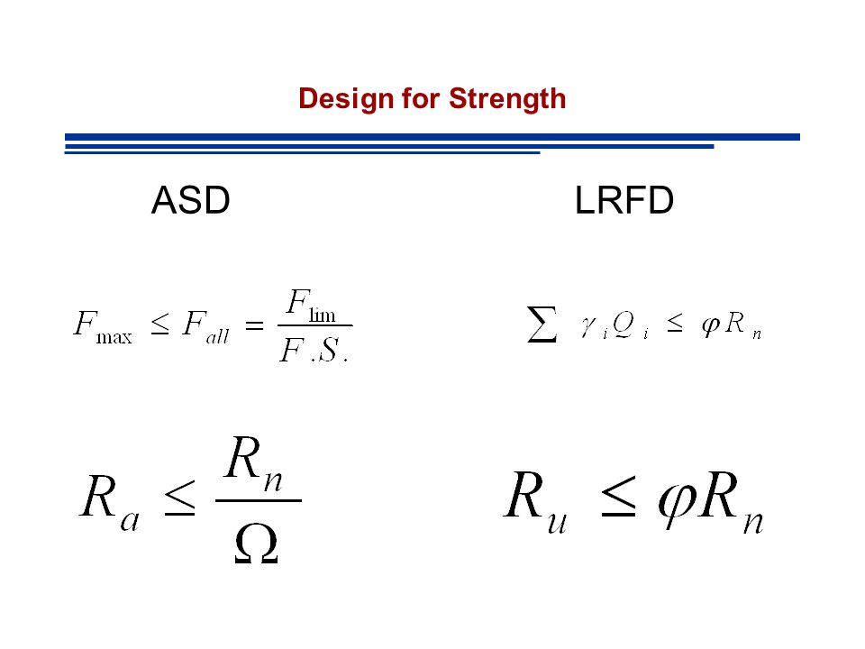 Design for Strength ASD LRFD