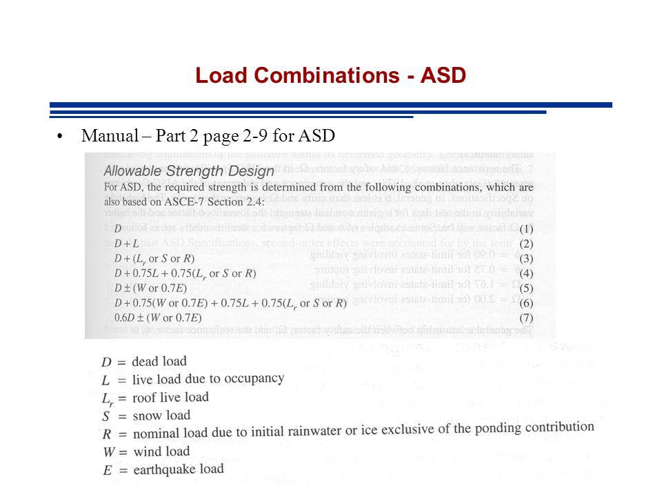 Load Combinations - ASD