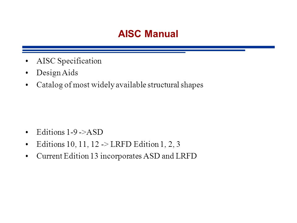 AISC Manual AISC Specification Design Aids