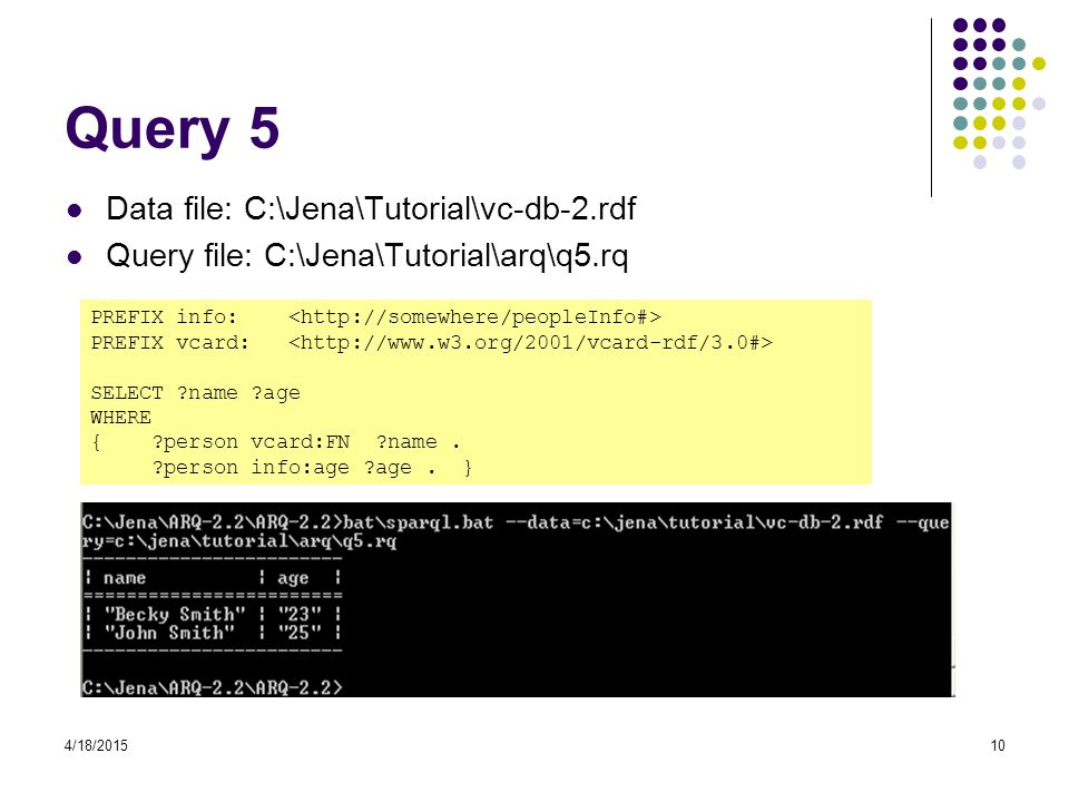 Query 5 Data file: C:\Jena\Tutorial\vc-db-2.rdf