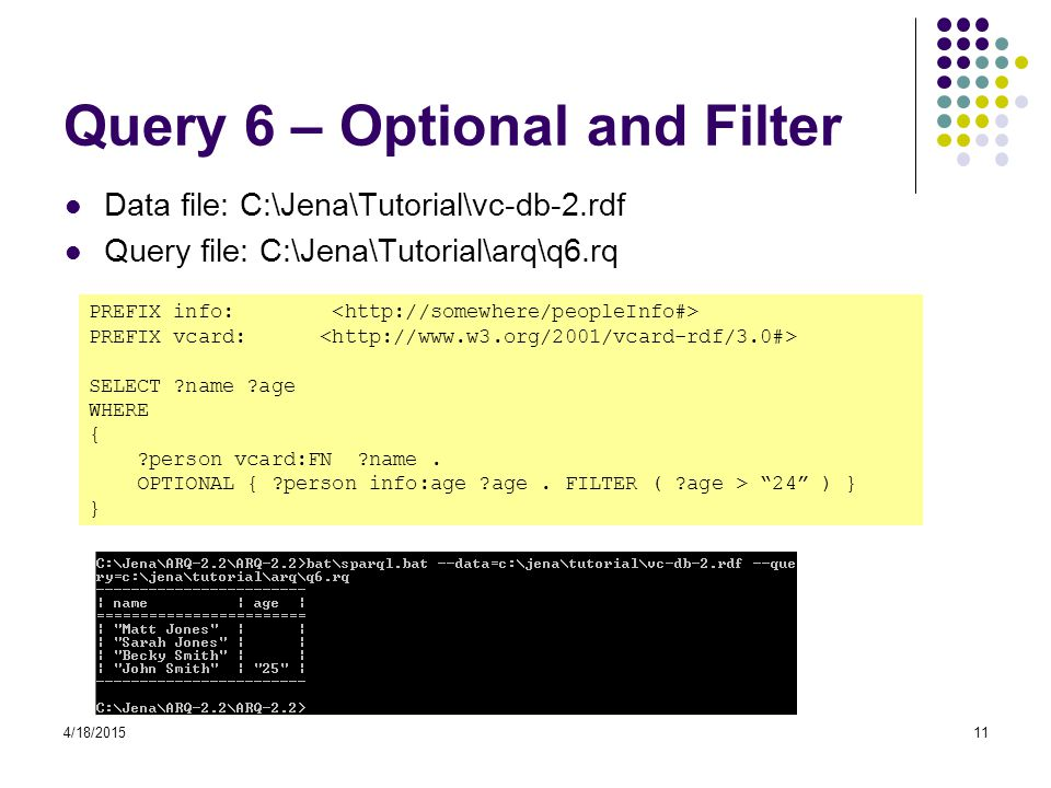 Query 6 – Optional and Filter