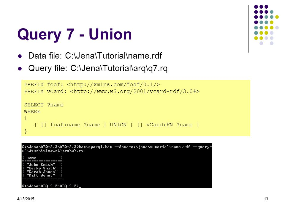 Query 7 - Union Data file: C:\Jena\Tutorial\name.rdf