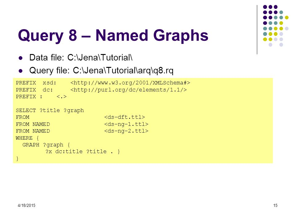 Query 8 – Named Graphs Data file: C:\Jena\Tutorial\