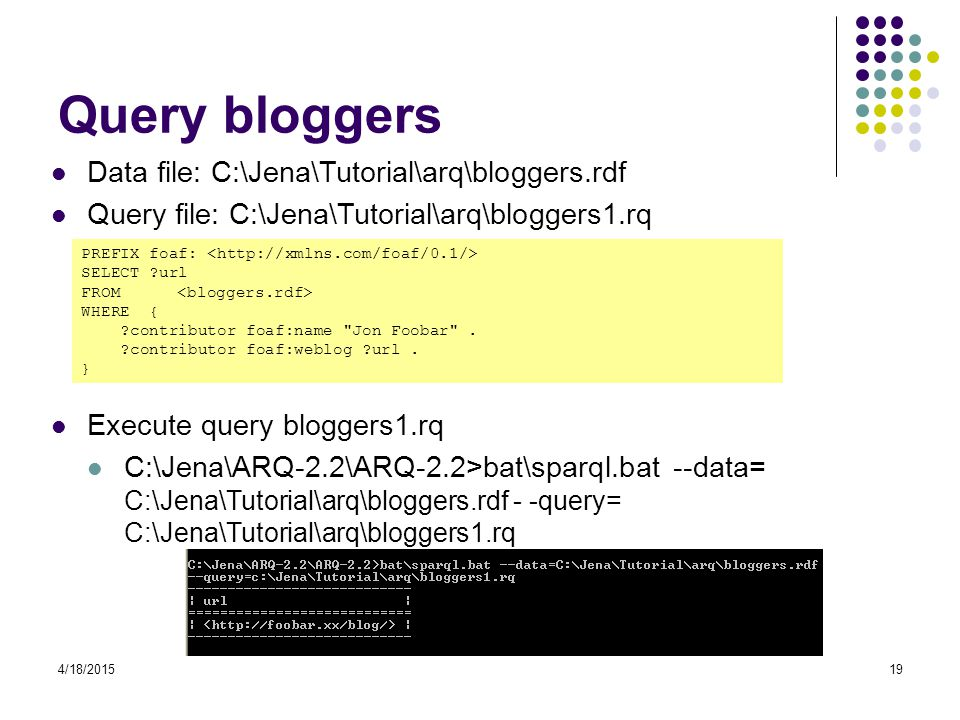 Query bloggers Data file: C:\Jena\Tutorial\arq\bloggers.rdf