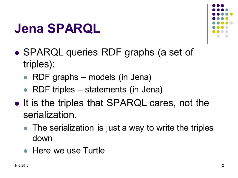 Jena SPARQL SPARQL queries RDF graphs (a set of triples):