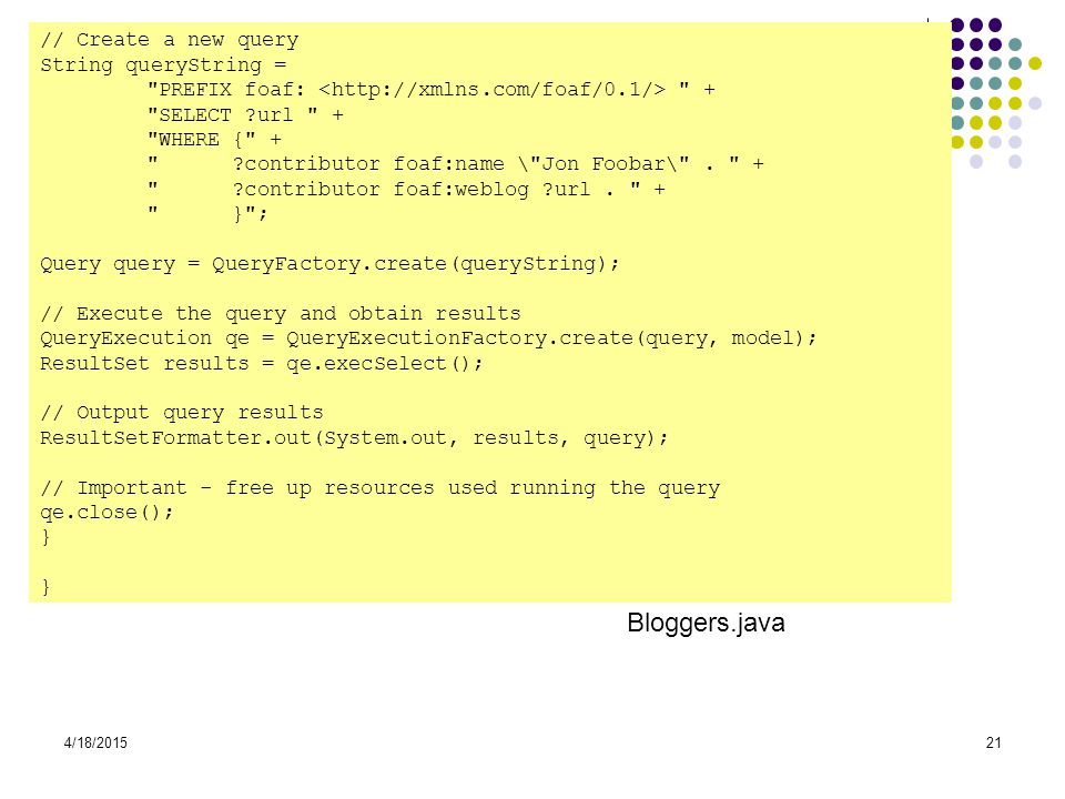 Bloggers.java // Create a new query String queryString =