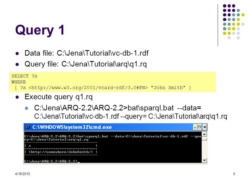 Query 1 Data file: C:\Jena\Tutorial\vc-db-1.rdf