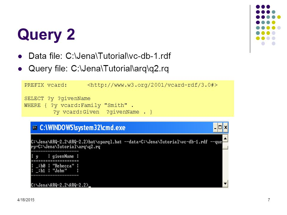 Query 2 Data file: C:\Jena\Tutorial\vc-db-1.rdf