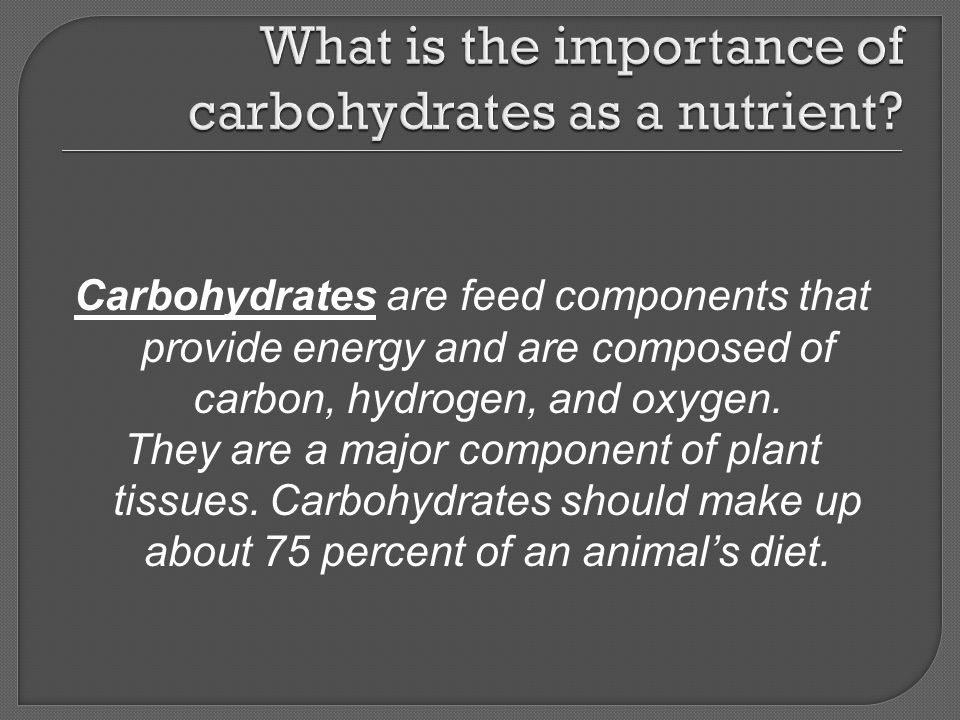 What is the importance of carbohydrates as a nutrient