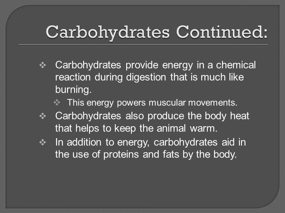 Carbohydrates Continued:
