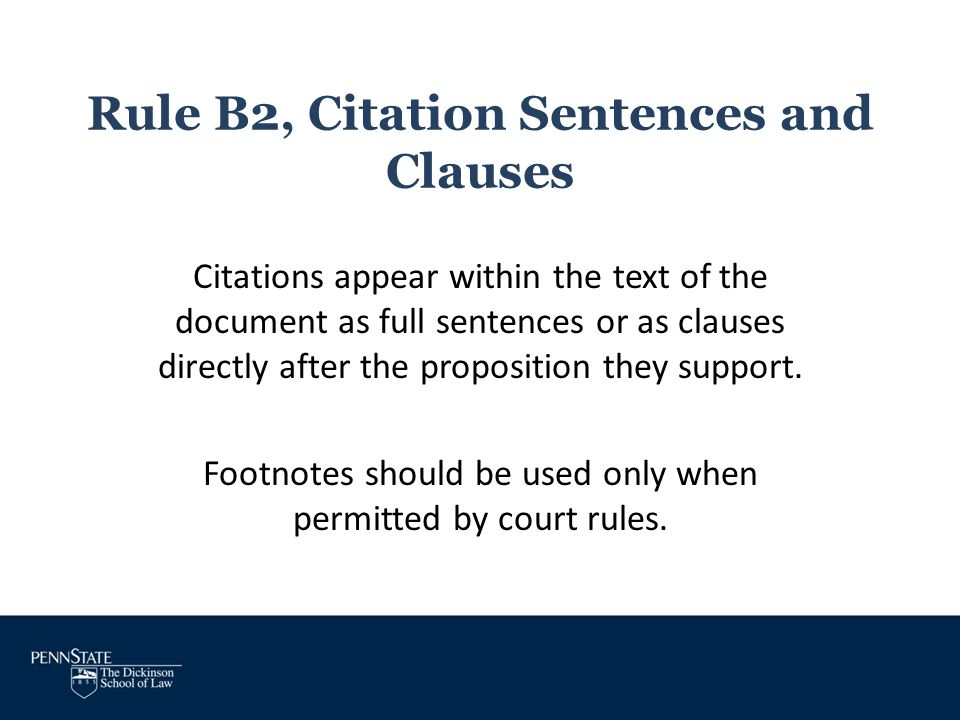 Rule B2, Citation Sentences and Clauses