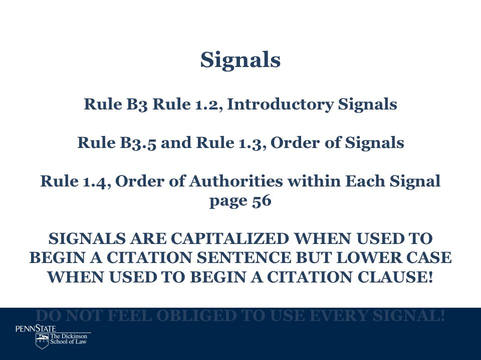 Signals Rule B3 Rule 1. 2, Introductory Signals Rule B3. 5 and Rule 1