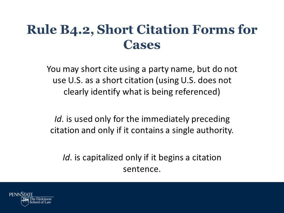 Rule B4.2, Short Citation Forms for Cases