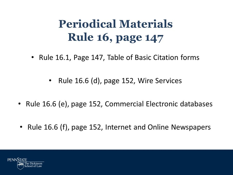 Periodical Materials Rule 16, page 147