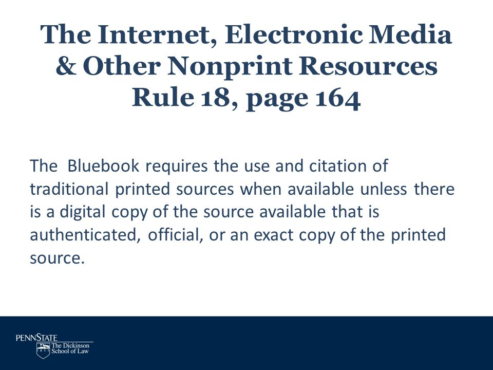 The Internet, Electronic Media & Other Nonprint Resources Rule 18, page 164