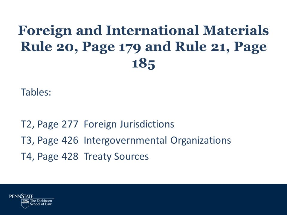 Foreign and International Materials Rule 20, Page 179 and Rule 21, Page 185