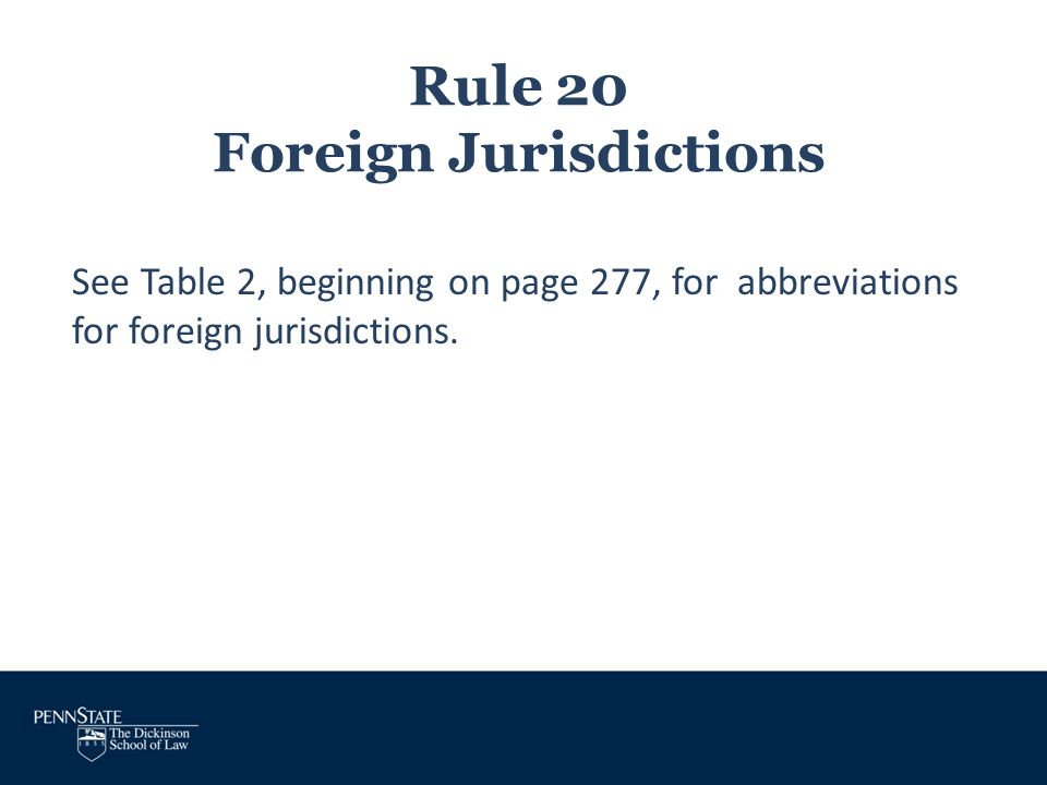 Rule 20 Foreign Jurisdictions