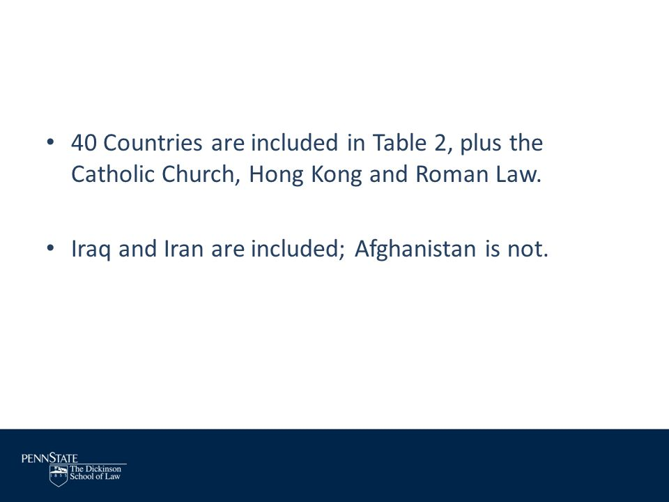 40 Countries are included in Table 2, plus the Catholic Church, Hong Kong and Roman Law.
