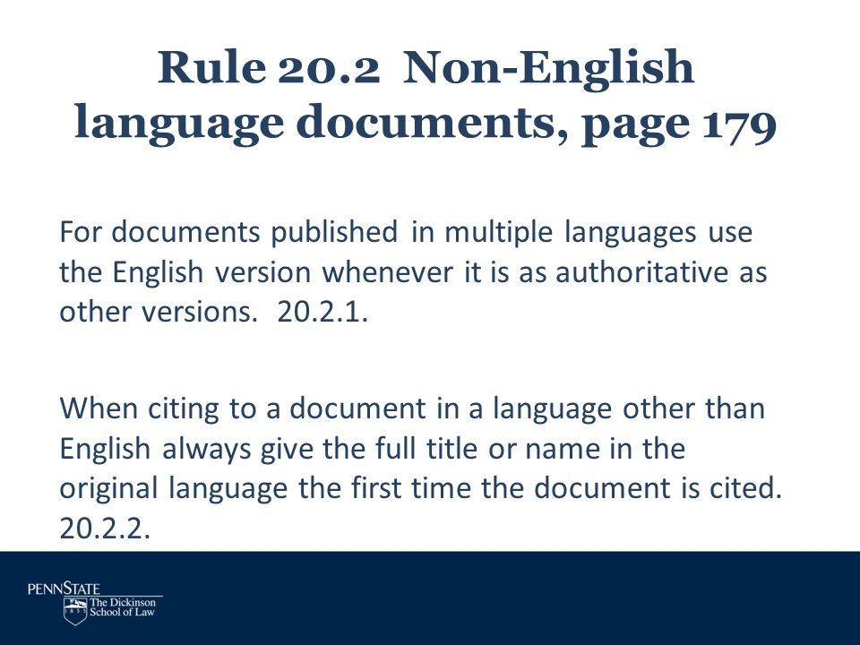 Rule 20.2 Non-English language documents, page 179