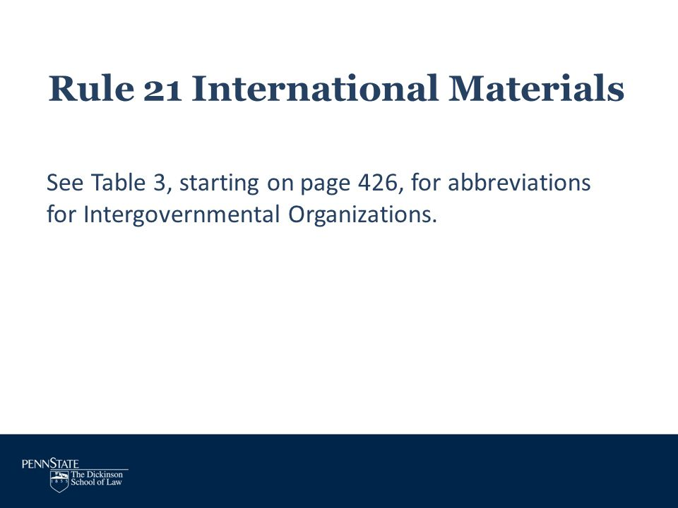 Rule 21 International Materials