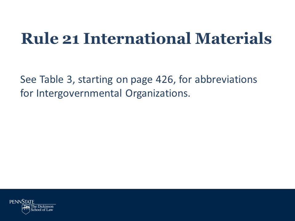 Rule 21 International Materials