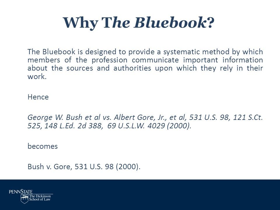 Why The Bluebook