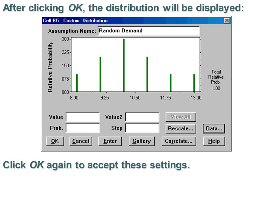 After clicking OK, the distribution will be displayed: