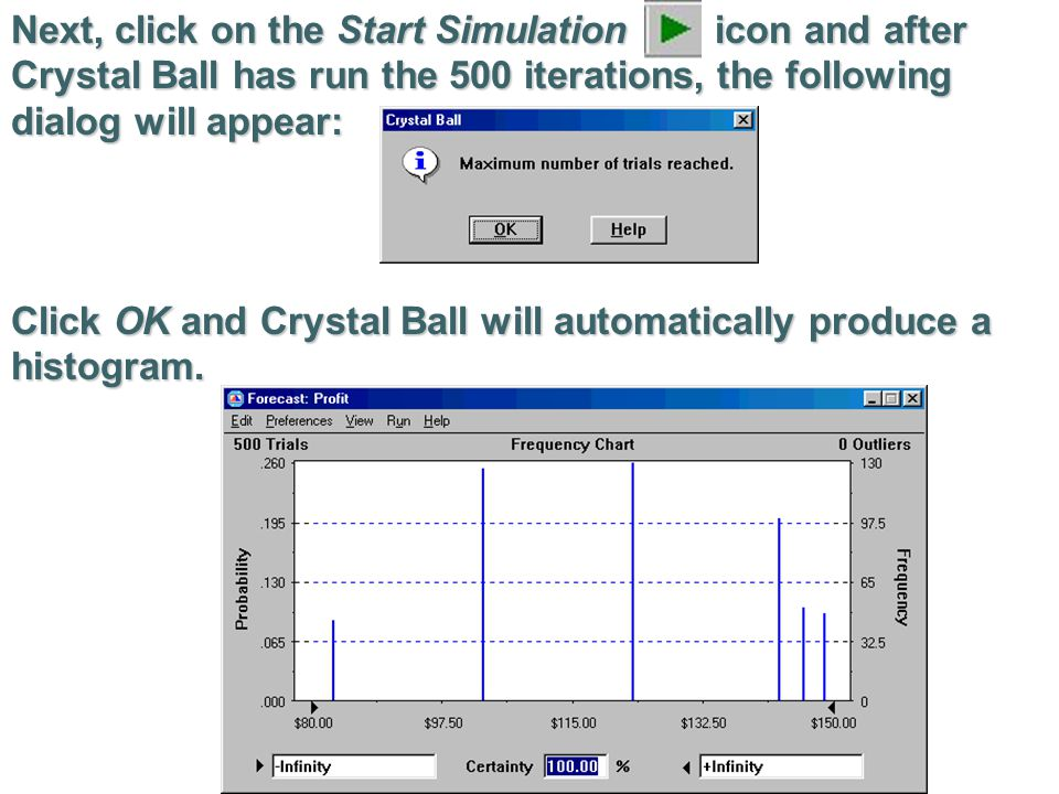 Next, click on the Start Simulation icon and after Crystal Ball has run the 500 iterations, the following dialog will appear: