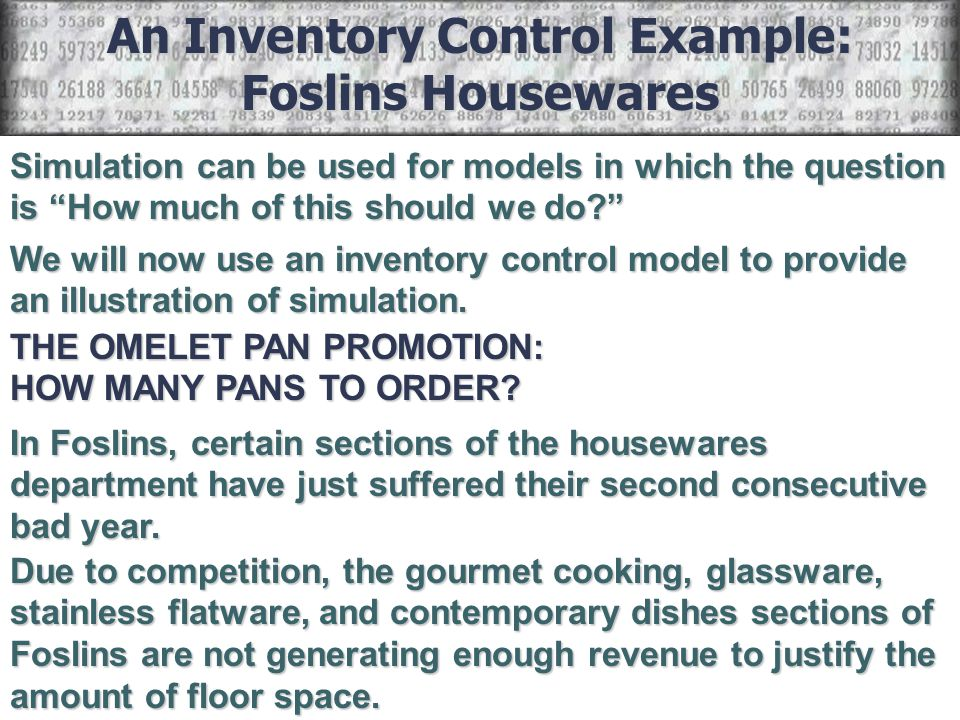 An Inventory Control Example: