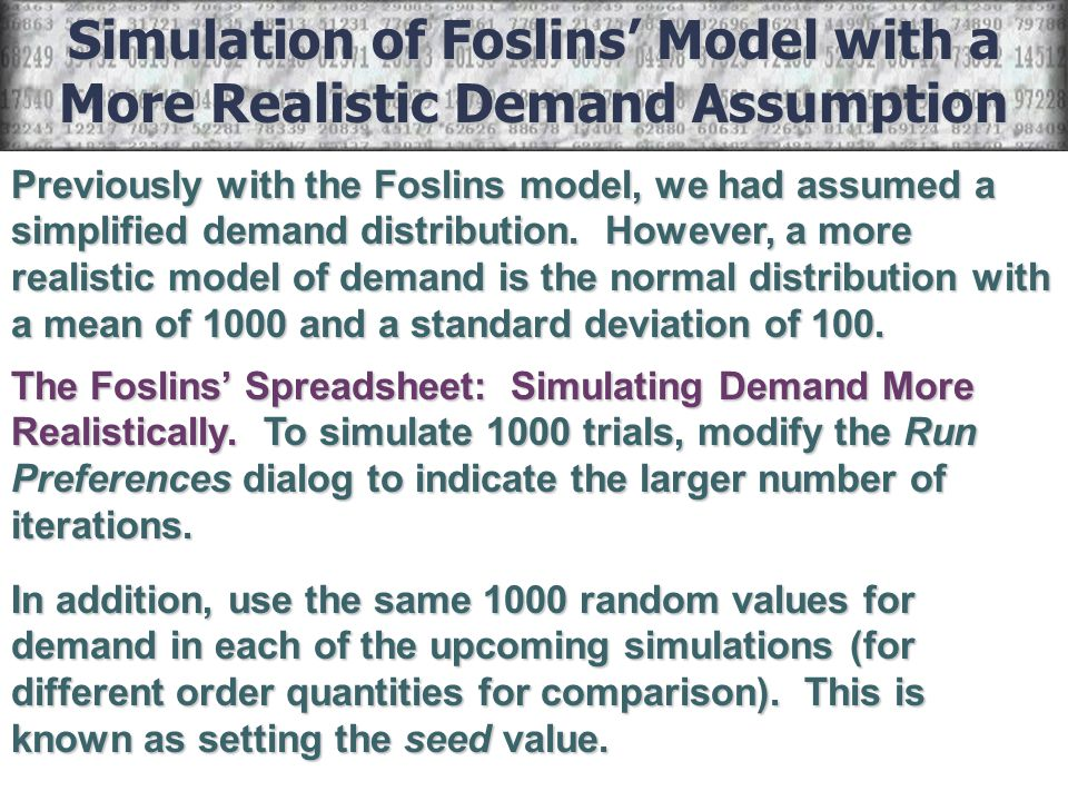 Simulation of Foslins' Model with a More Realistic Demand Assumption