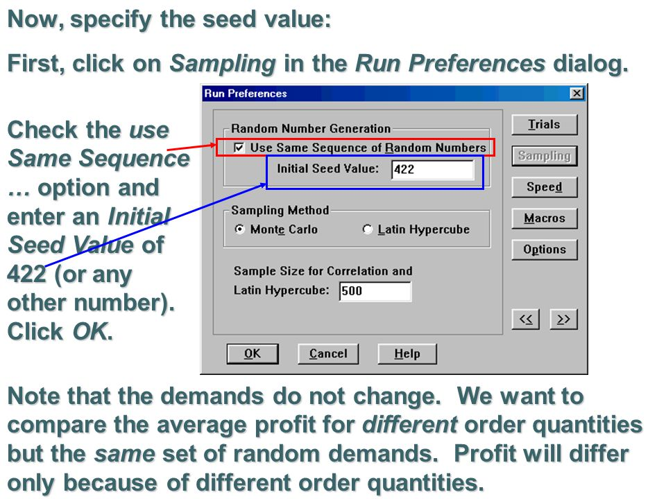 Now, specify the seed value: