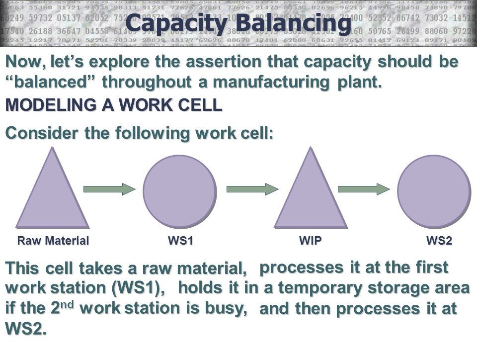 Capacity Balancing Now, let's explore the assertion that capacity should be balanced throughout a manufacturing plant.