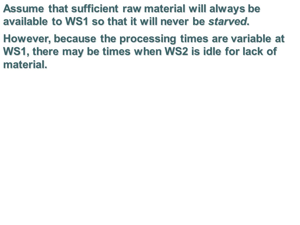 Assume that sufficient raw material will always be available to WS1 so that it will never be starved.