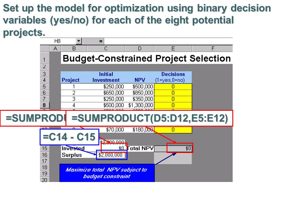 Set up the model for optimization using binary decision variables (yes/no) for each of the eight potential projects.