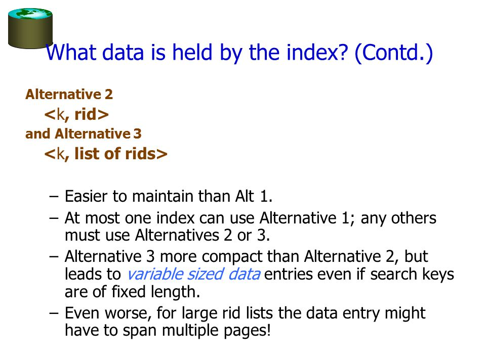 What data is held by the index (Contd.)
