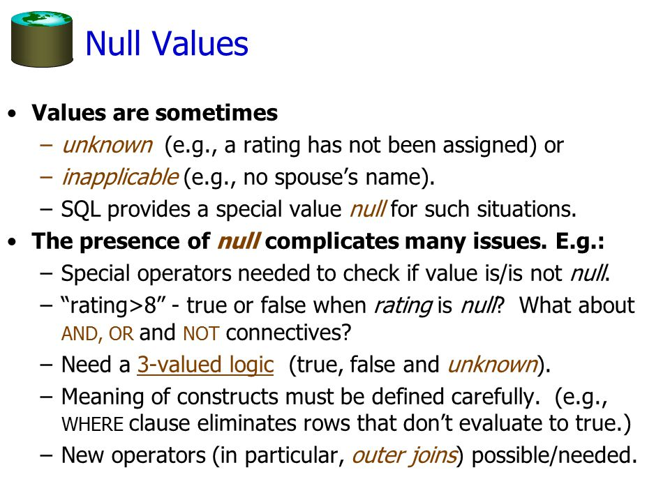 Null Values Values are sometimes