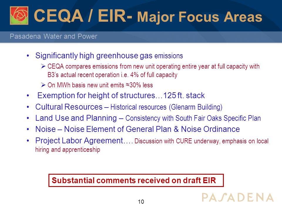 CEQA / EIR- Major Focus Areas