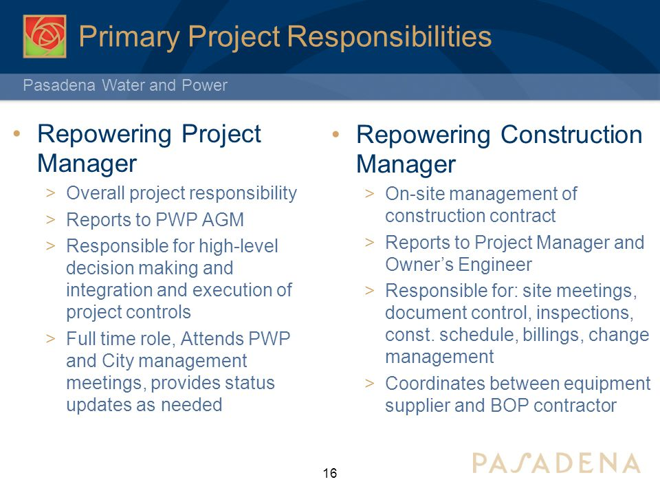 Primary Project Responsibilities