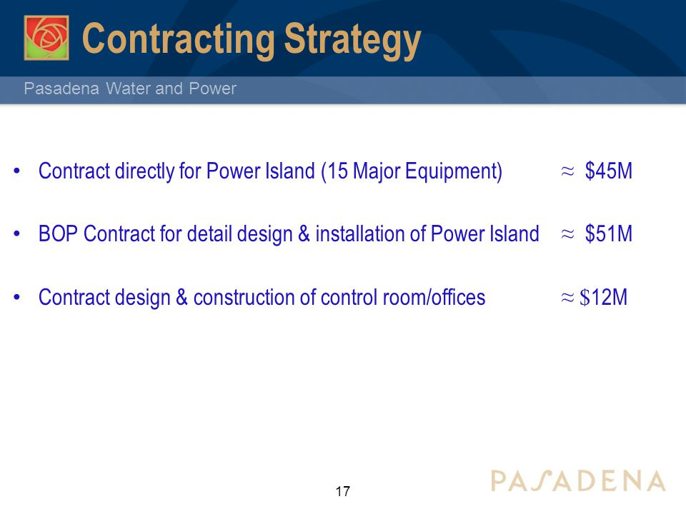 Contracting Strategy Contract directly for Power Island (15 Major Equipment) ≈ $45M.