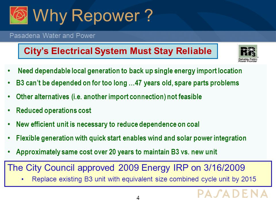 City's Electrical System Must Stay Reliable