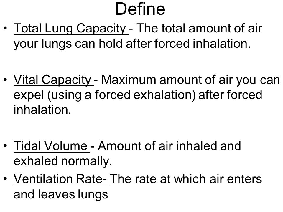 Define Total Lung Capacity - The total amount of air your lungs can hold after forced inhalation.
