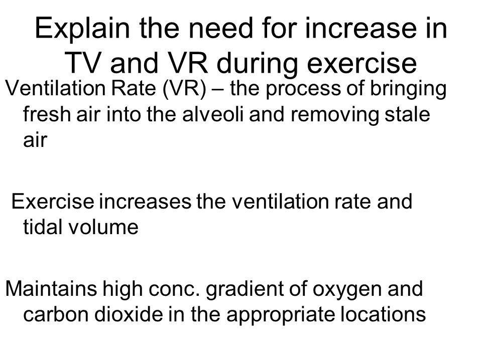 Explain the need for increase in TV and VR during exercise