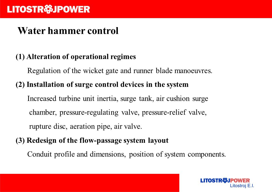 Water hammer control (1) Alteration of operational regimes