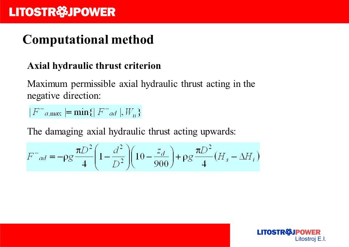 Computational method Axial hydraulic thrust criterion