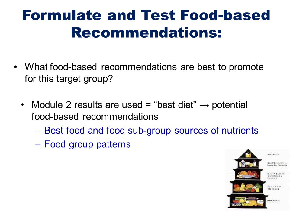 Formulate and Test Food-based Recommendations: