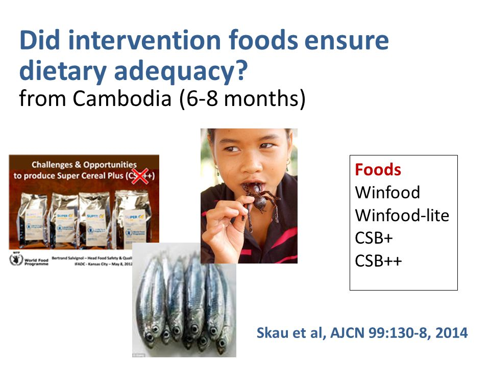 Did intervention foods ensure dietary adequacy