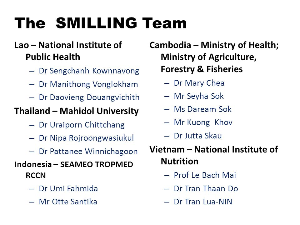 The SMILLING Team Lao – National Institute of Public Health