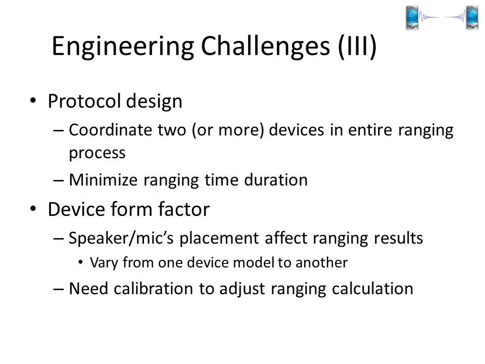 Engineering Challenges (III)
