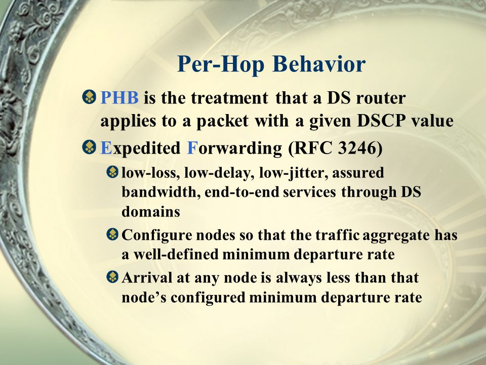 Per-Hop Behavior PHB is the treatment that a DS router applies to a packet with a given DSCP value.